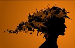 blom- flickasilhouette för höst Royaltyfri Fotografi