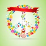 blom- fred för kort stock illustrationer