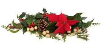 Blom- garnering för julstjärna Arkivbild