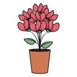 Blom- garnering i lerakruka royaltyfri illustrationer