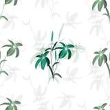 Blom- garnering kanin f?r f?delsedagkortg?va Blomstra gr?na blommor av liljan p? en vit bakgrund vattenf?rg stock illustrationer