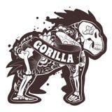 Blom- gorilla för vektor vektor illustrationer