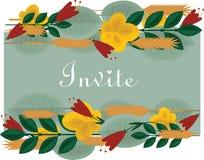 Blom- gräns med lövverk, blommor för inbjudningar och kort Arkivfoton