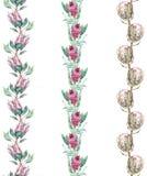 Blom- gränsmodeller med proteablomman Sömlösa bakgrunder för tygdesign royaltyfri illustrationer