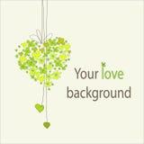 Blom- grön hjärtabakgrund Arkivbild