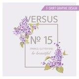 Blom- grafisk design för T-tröja stock illustrationer