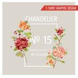 Blom- grafisk design för tappning - för T-tröja, skrivar mode ut, Royaltyfri Fotografi