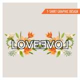 Blom- grafisk design för tappning - sommar Lily Flowers - för T-tröja Arkivfoto