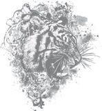blom- grungeillustrationtiger stock illustrationer