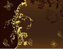 blom- guld- för bakgrundsdesign Arkivbild