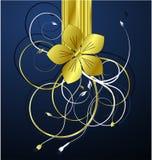 blom- guld- illustrationvektor Fotografering för Bildbyråer
