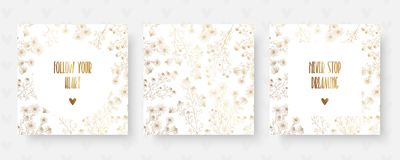Blom- guld- kort med kamomill och inspirerande citationstecken vektor illustrationer