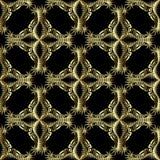Blom- guld- texturerad modell för vektor för grek 3d sömlös Dekorativ bakgrund för etnisk stil Rastrerade arabesqueblommor, sidor stock illustrationer