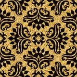 blom- guld- wallpaper Arkivfoto