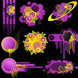 blom- gulliga element stock illustrationer