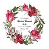 Blom- hälsa kort med rosor och jasmin blommar kranen vektor illustrationer