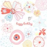 blom- hälsning för ljust kort royaltyfri illustrationer