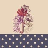 Blom- hälsningkort eller olik händelsedusch stock illustrationer