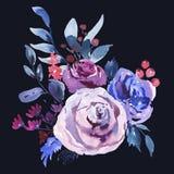 Blom- hälsningkort för abstrakt vattenfärg i en La Prima Style, Violet Watercolor Roses vektor illustrationer