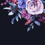Blom- hälsningkort för abstrakt vattenfärg i en La Prima Style, Violet Watercolor Roses royaltyfri illustrationer