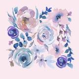 Blom- hälsningkort för försiktig vattenfärg i en La Prima Style, rosa vattenfärgrosor vektor illustrationer