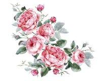 Blom- hälsningkort för klassisk tappning, vattenfärg stock illustrationer