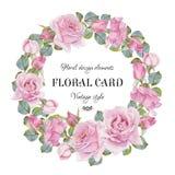 Blom- hälsningkort för tappning med en ram av vattenfärgrosor Royaltyfria Bilder