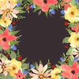 Blom- hälsningkort, inbjudan, baner Ram för dina textwi Royaltyfria Bilder