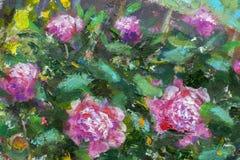 Blom- härlig bukett för olje- målning i trädgård av blommor av purpurfärgade pioner, frodiga röda rosor Blommor i trädgård, en bu royaltyfri foto