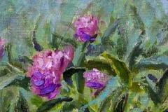 Blom- härlig bukett för olje- målning i trädgård av blommor av purpurfärgade pioner, frodiga röda rosor Blommor i trädgård, en bu royaltyfria bilder