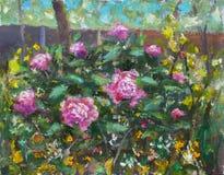 Blom- härlig bukett för olje- målning i trädgård av blommor av purpurfärgade pioner, frodiga röda rosor Blommor i trädgård, en bu royaltyfri fotografi