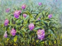 Blom- härlig bukett för olje- målning i trädgård av blommor av purpurfärgade pioner, frodiga röda rosor Blommor i trädgård, en bu royaltyfria foton
