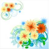 blom- hörndesignelement royaltyfri illustrationer