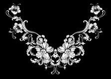 Blom- halsbroderidesign i barock stil arkivbilder