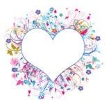 blom- hjärta för bakgrund vektor illustrationer