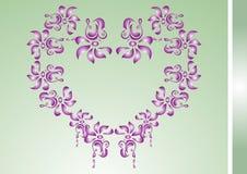 blom- hjärta för kort Arkivbild
