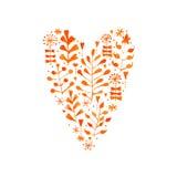 Blom- hjärta för vektorvattenfärg Arkivfoto