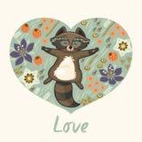 Blom- hjärta med tvättbjörnen Fotografering för Bildbyråer