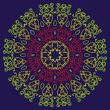 Blom- hjärta på en blå bakgrund Förälskelsemandala Royaltyfri Bild