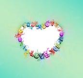Blom- hjärtamonogram royaltyfri illustrationer