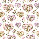 Blom- hjärtor, äpple och sakura blommor - körsbärsröd blomning sömlös modell för valentindag Tappningvattenfärg Royaltyfria Foton