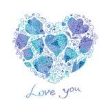 Blom- hjärtor Stock Illustrationer