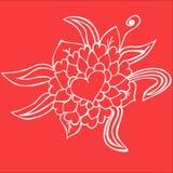 blom- hjärta för klotter Arkivbild