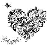Blom- hjärta för tappning Royaltyfria Bilder