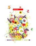 Blom- honung. Jar med sommarblommor Arkivfoton