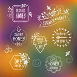 Blom- honungetiketter för sommar, symboler Stock Illustrationer