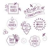Blom- honungetiketter för sommar, symboler Vektor Illustrationer