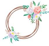 Blom- illustration för vattenfärg - blommakransram med guld- geometrisk form, för att gifta sig som är stationärt, hälsningar, ta vektor illustrationer