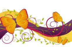 blom- illustration för fjärilar Royaltyfria Bilder