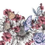 Blom- illustration med drog solrosen för vektor den hand royaltyfri illustrationer